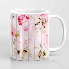 Blush pink coral watercolor floral faux rose gold stripes Coffee Mug