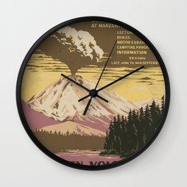 Vintage American WPA Poster - Lassen Volcanic National Park, Ranger Naturalist Service (1938) Wall Clock