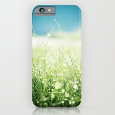 Dew Nature Photography, Green Blue Morning Dew Sparkle, Colorful Grass Photography iPhone 6s Slim Case