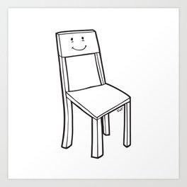 chair boy Art Print