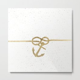 Elegant faux gold white nautical knot anchor watercolor splatters Metal Print