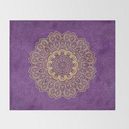 Golden Flower Mandala on Textured Purple Background Throw Blanket
