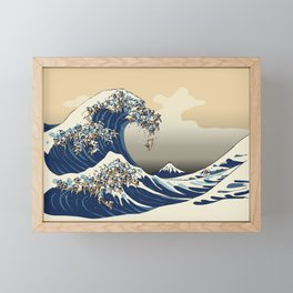 The Great Wave of Pugs Vanilla Sky Framed Mini Art Print