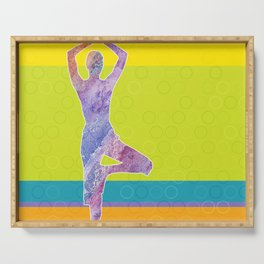 Drawing silhouette of woman doing yoga Serving Tray