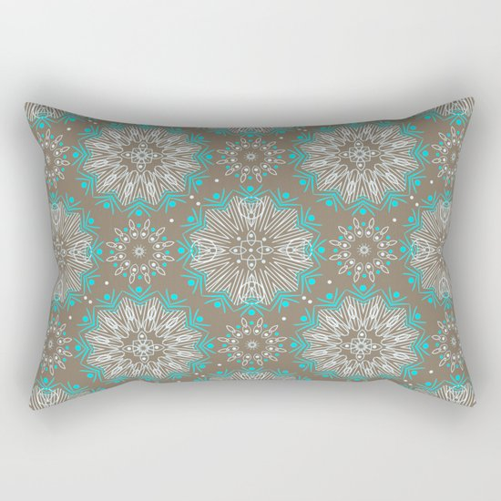 Brown turquoise bling . Rectangular Pillow