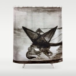 Little paper boat Shower Curtain