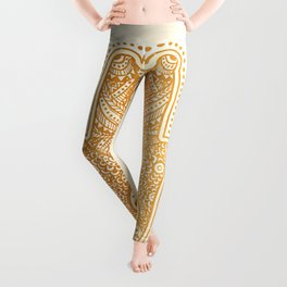 Elegance Hamsa Hand Metallic Gold Beige Leggings