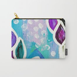 Abstract Flower Painting. Acrylic Painting. Purple. Teal. Blue. Circles Carry-All Pouch