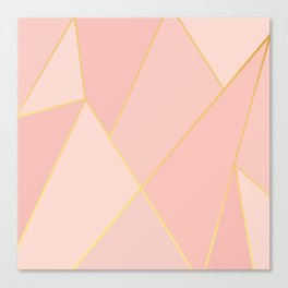 Elegant Pink Rose Gold Geometric Abstract Canvas Print