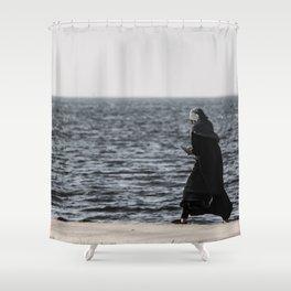 Young muslim girl walking at seaside Shower Curtain