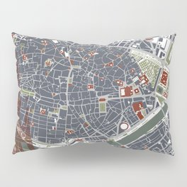 Seville city map engraving Pillow Sham