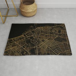 Black and gold Manila map Rug