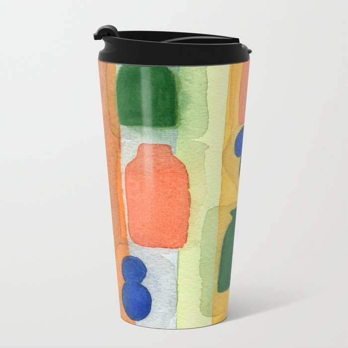 One Vase Toppled Over Metal Travel Mug