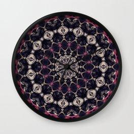Rose Red Black Taupe Mandala Kaleidoscope A450c Wall Clock
