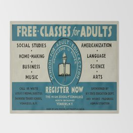 Vintage poster - Adult Education Throw Blanket