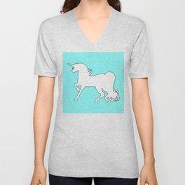 White Unicorn Silhouette Unisex V-Neck
