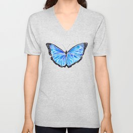Big Blue Butterfly Watercolor Unisex V-Neck