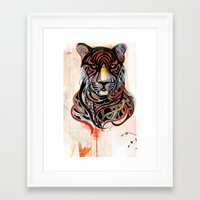 tiger Framed Art Prints featuring Tiger by Felicia Cirstea