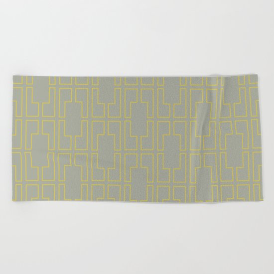 Simply Mid-Century Mod Yellow on Retro Gray Beach Towel