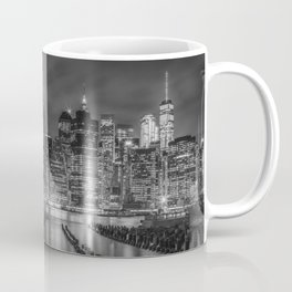 NEW YORK CITY Monochrome Night Impressions | slim panoramic Coffee Mug
