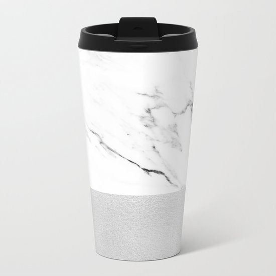 White Marble with Black and Grey Silver Stripe Metal Travel Mug
