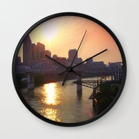 nashville Wall Clocks featuring Nashville Dusk by Andooga Design