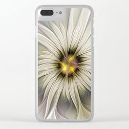 Blossom, Abstract Fantasy Flower Fractal Art Clear iPhone Case