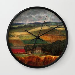 Classical Masterpiece 'Wisconsin Landscape II' by John Steuart Curry Wall Clock