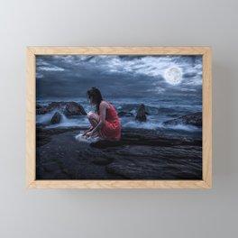Woman Bathing in the Sea Beneath a Full Moon Framed Mini Art Print