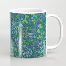 Lavender and lupine with cornflowers on herbal background Coffee Mug