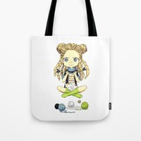 knitting Tote Bags featuring Knitting Meditation by Freeminds