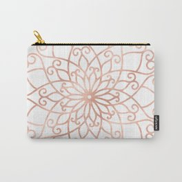 Mandala Rose Gold Pink Flower Carry-All Pouch