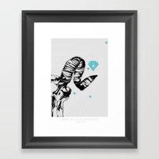 ram skull and diamonds Framed Art Print