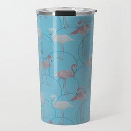 Walk with pink flamingos on bright blue Travel Mug