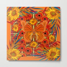 ORANGE MONARCH SUNFLOWERS ART Metal Print