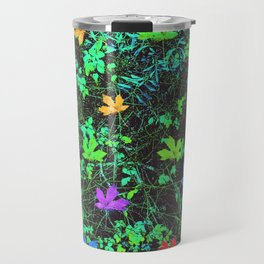 maple leaf in pink blue green orange with green creepers plants Travel Mug