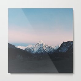 Blue & Pink Himalaya Mountains Metal Print