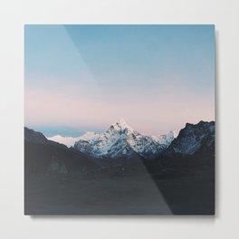Blue & Pink Himalaya Mountains Metal Print