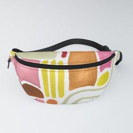 Joyful Warm Watercolor Shapes Fanny Pack