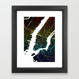 Colourful City Map of New York, USA Framed Art Print