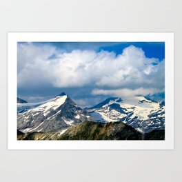 snowy mountain peak. Art Print