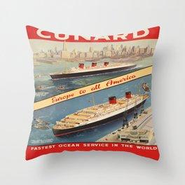 Vintage poster - Cunard Throw Pillow
