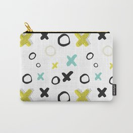 Geometrical yellow black teal watercolor pattern Carry-All Pouch