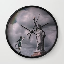 Statue of liberty rainbow Wall Clock