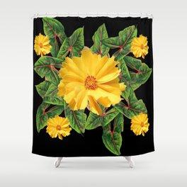 BLACK & YELLOW COREOPSIS   FLORAL ART DESIGN Shower Curtain