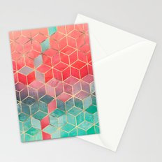 Rose And Turquoise Cubes Stationery Cards