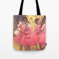 degas Tote Bags featuring The Pink Dancers Before the Ballet by PureVintageLove