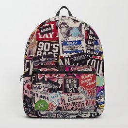 Colorful Sticker Vintage Abstract Pattern Backpack