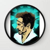 tony stark Wall Clocks featuring Tony Stark. by Tomcert