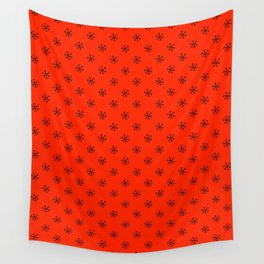 Black on Scarlet Red Snowflakes Wall Tapestry